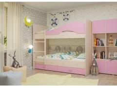 Двухъярусная кровать Мая с ящиками дуб розовый