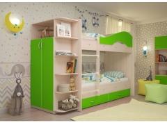 Двухъярусная кровать Мая с ящиками и шкафом дуб млечный-лайм