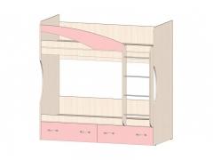 Кровать 2х ярусная Буратино Розовый