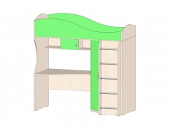 Кровать-чердак Буратино Зеленый