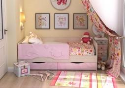 Кровать детская Алиса КР-812 1600 Белфорт/Розовый