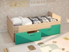 Кровать Умка с 2 ящиками дуб сонома-бирюза металлик