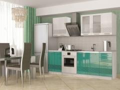 Кухня София 3D 1800 МДФ белый-бирюза