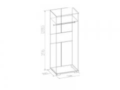 Модульная гостиная Бриз Шкаф для одежды 12 с зеркалом 800х2180х590