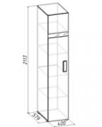 Спальня Гипер Шкаф для белья 1 Лев-Прав 400х579х2113 с фасадом в цвете Венге