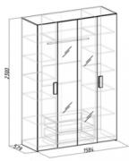 Спальня Гипер Шкаф для одежды и белья 1 1584х579х2300