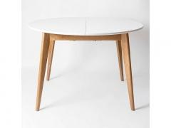 Стол обеденный раздвижной Орион плюс 1000 Дуб натуральный-Белая эмаль